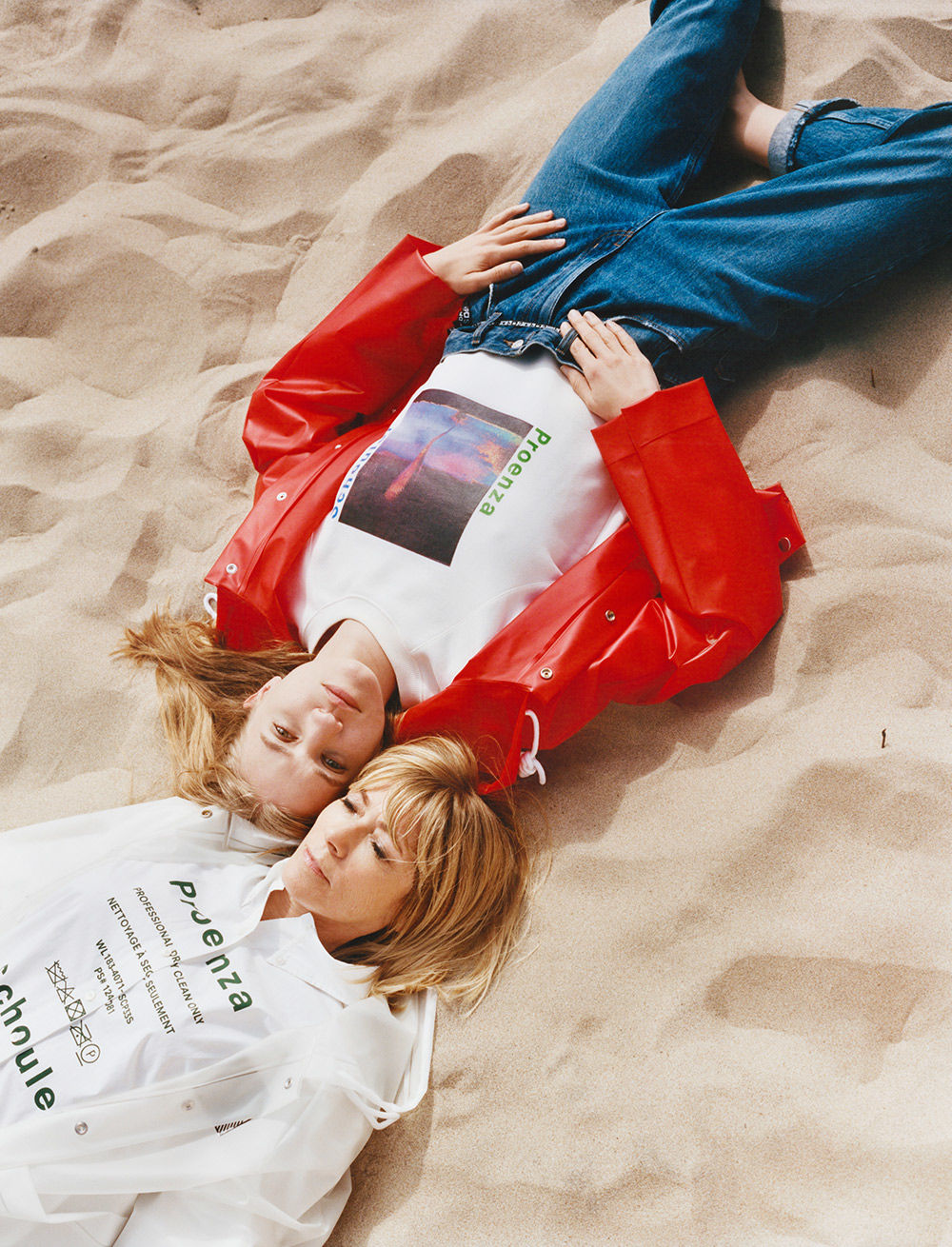 kim gordon and coco gordon moore red and white raincoats