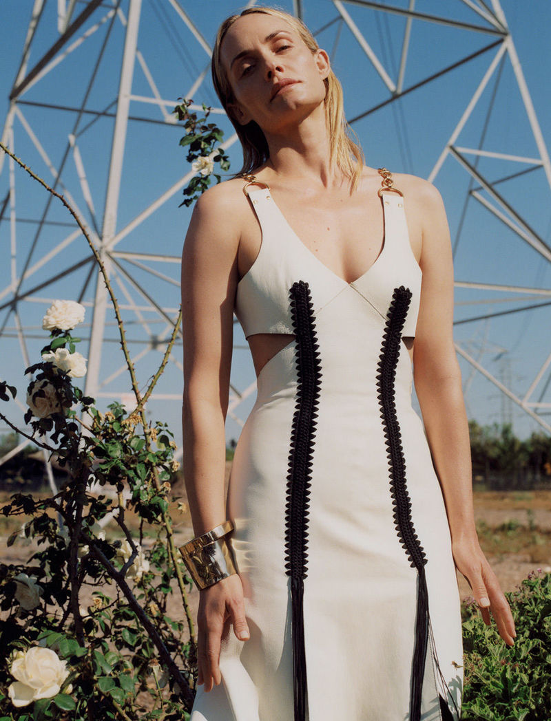 fall 2018 featuring amber valletta in white and black fringe dress