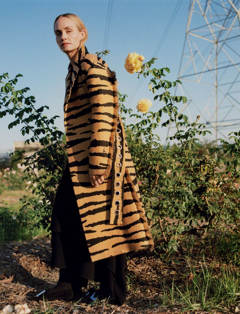 fall 2018 featuring amber valletta in zebra printed jacket