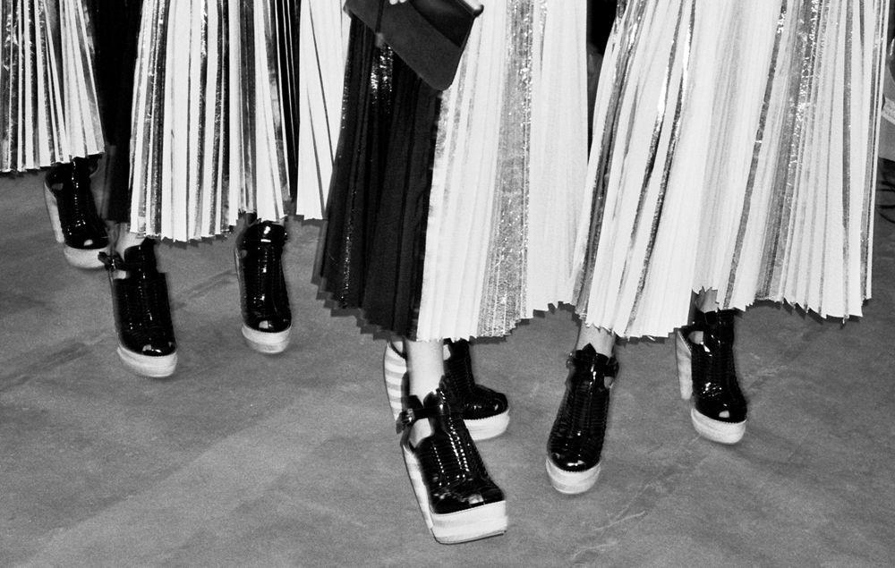 proenza schouler re edition pleated foil dress