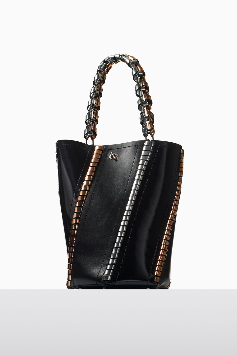 proenza schouler fall 2017 black smooth leather and metallic leather medium hex bucket bag