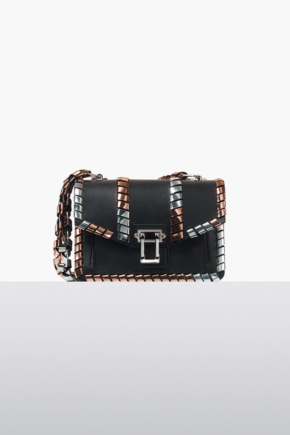 proenza schouler fall 2017 black textured grainy leather curl bag with hardware embellishment