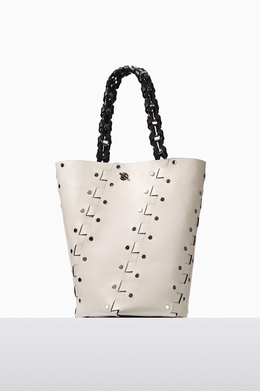 proenza schouler fall 2017 clay studded hinged medium hex bucket bag