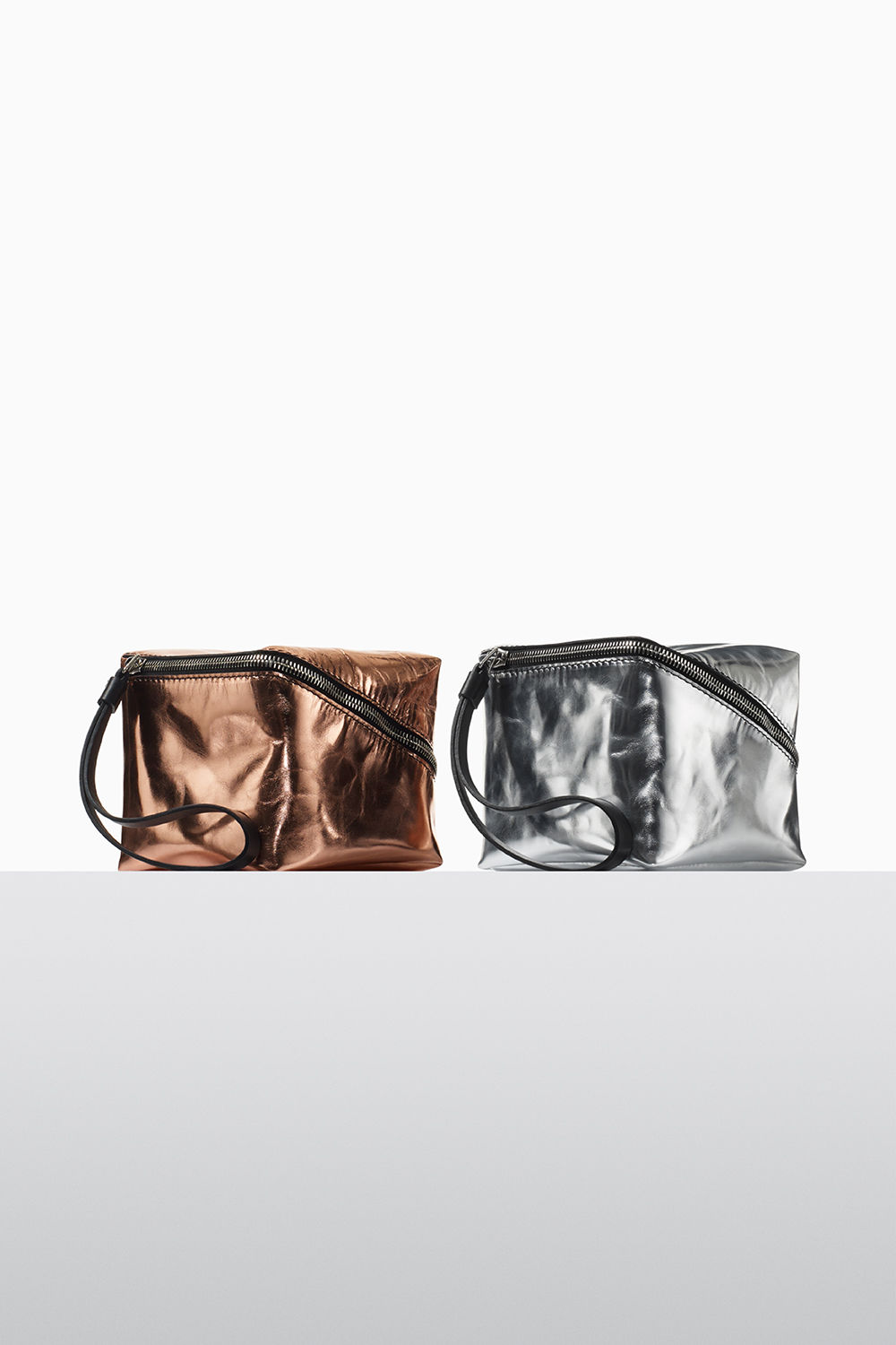 proenza schouler fall 2017 rose gold and silver soft metallic leather mini cube