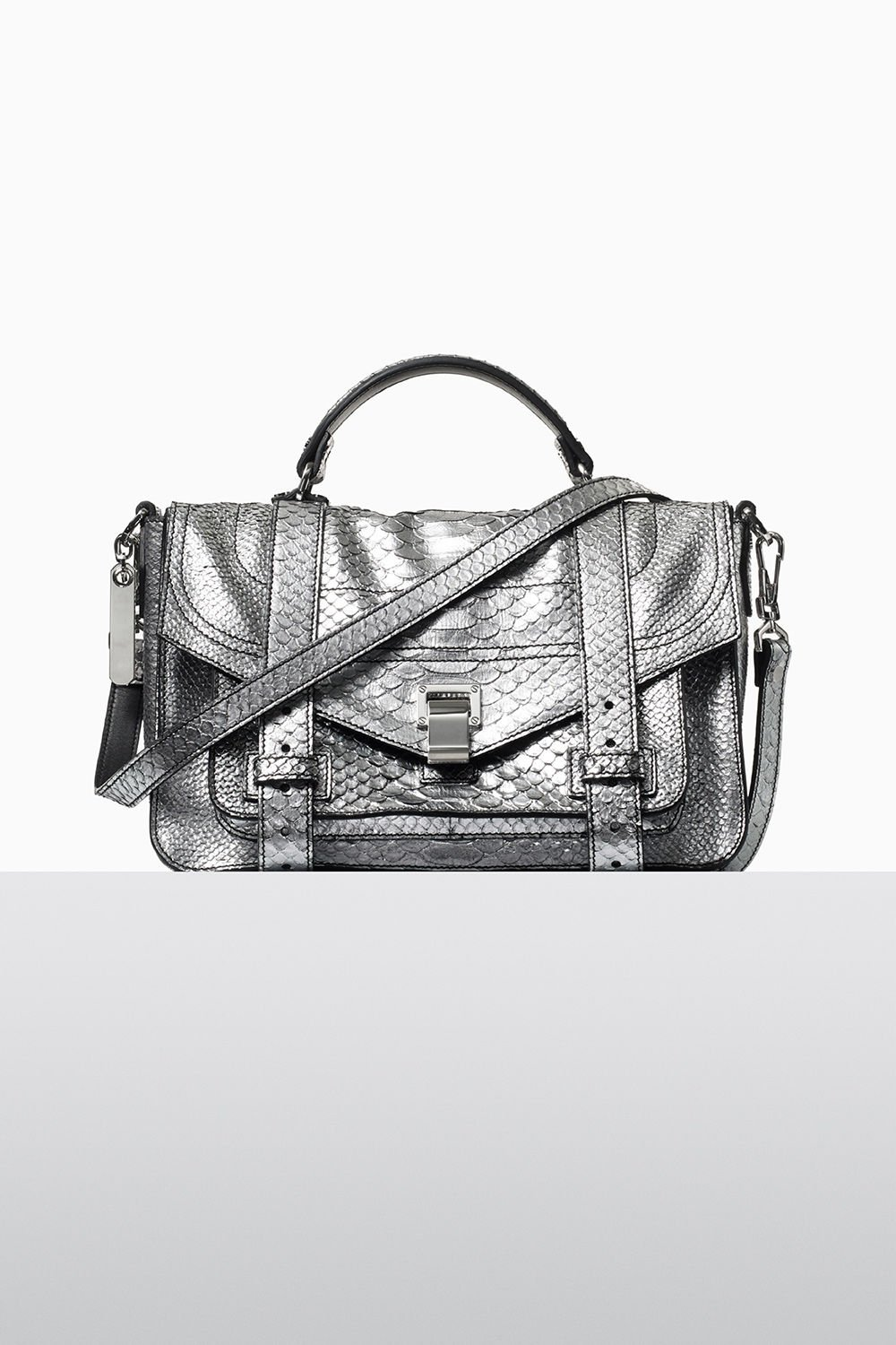 proenza schouler fall 2017 silver metallic embossed python ps1+ medium bag