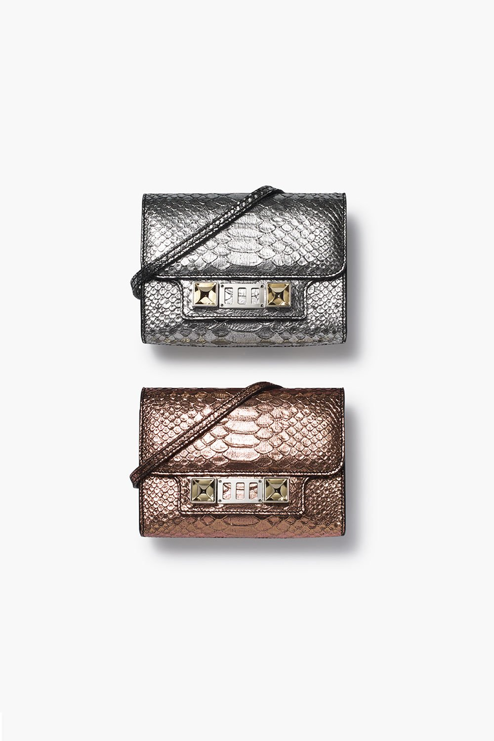 proenza schouler fall 2017 silver metallic embossed python ps11 wallet