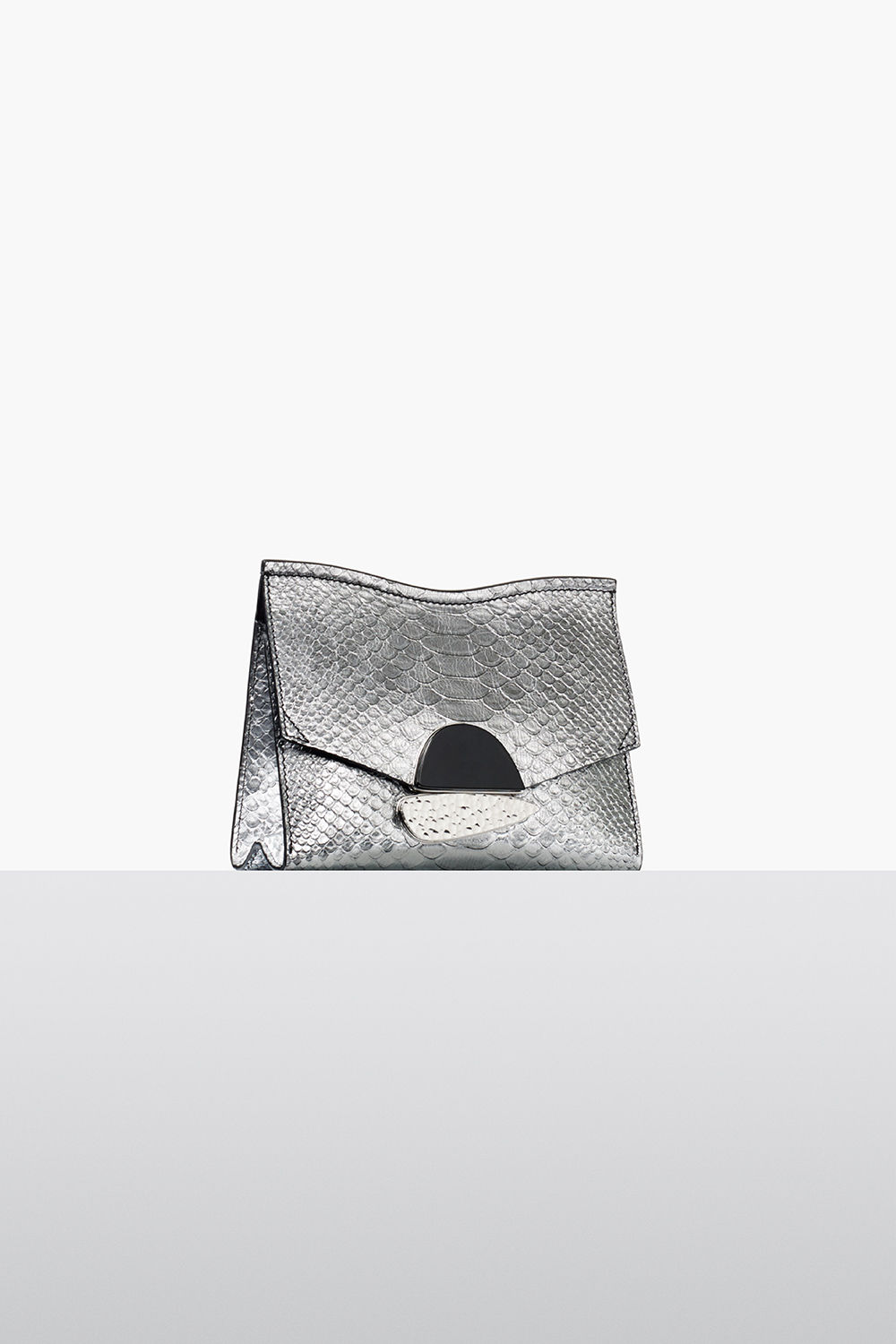 proenza schouler fall 2017 silver metallic embossed python small curl clutch