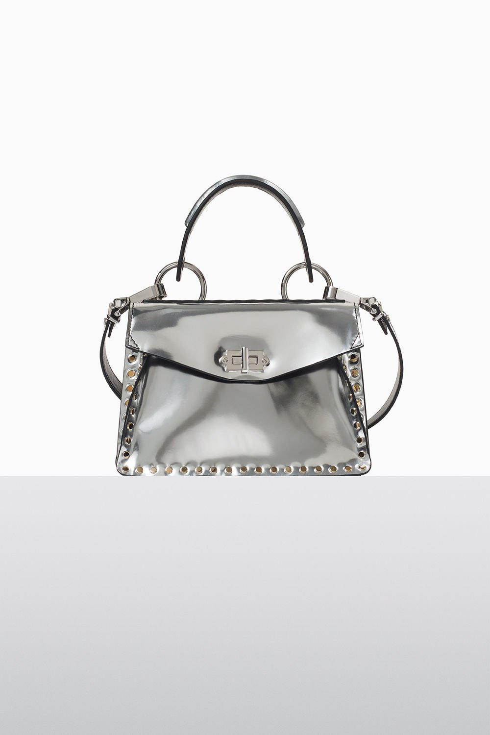 proenza schouler fall 2017 silver studded metallic leather small hava top handle bag