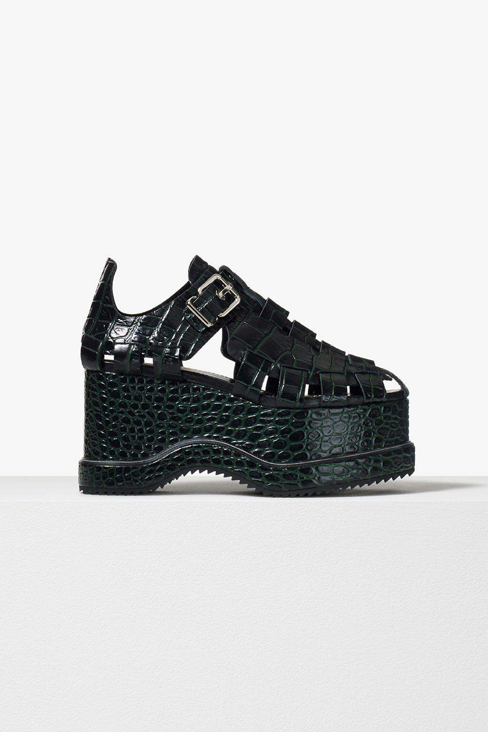proenza schouler pre fall 2017 black green embossed croc calf leather woven close toe platform sandal