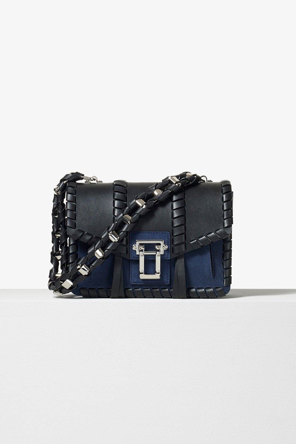 proenza schouler pre fall 2017 black indigo smooth leather and suede whipstitch chain hava bag