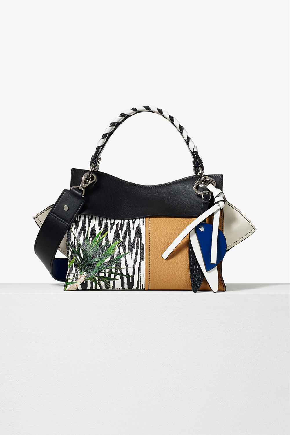 proenza schouler pre fall 2017 black printed mixed material curl handbag