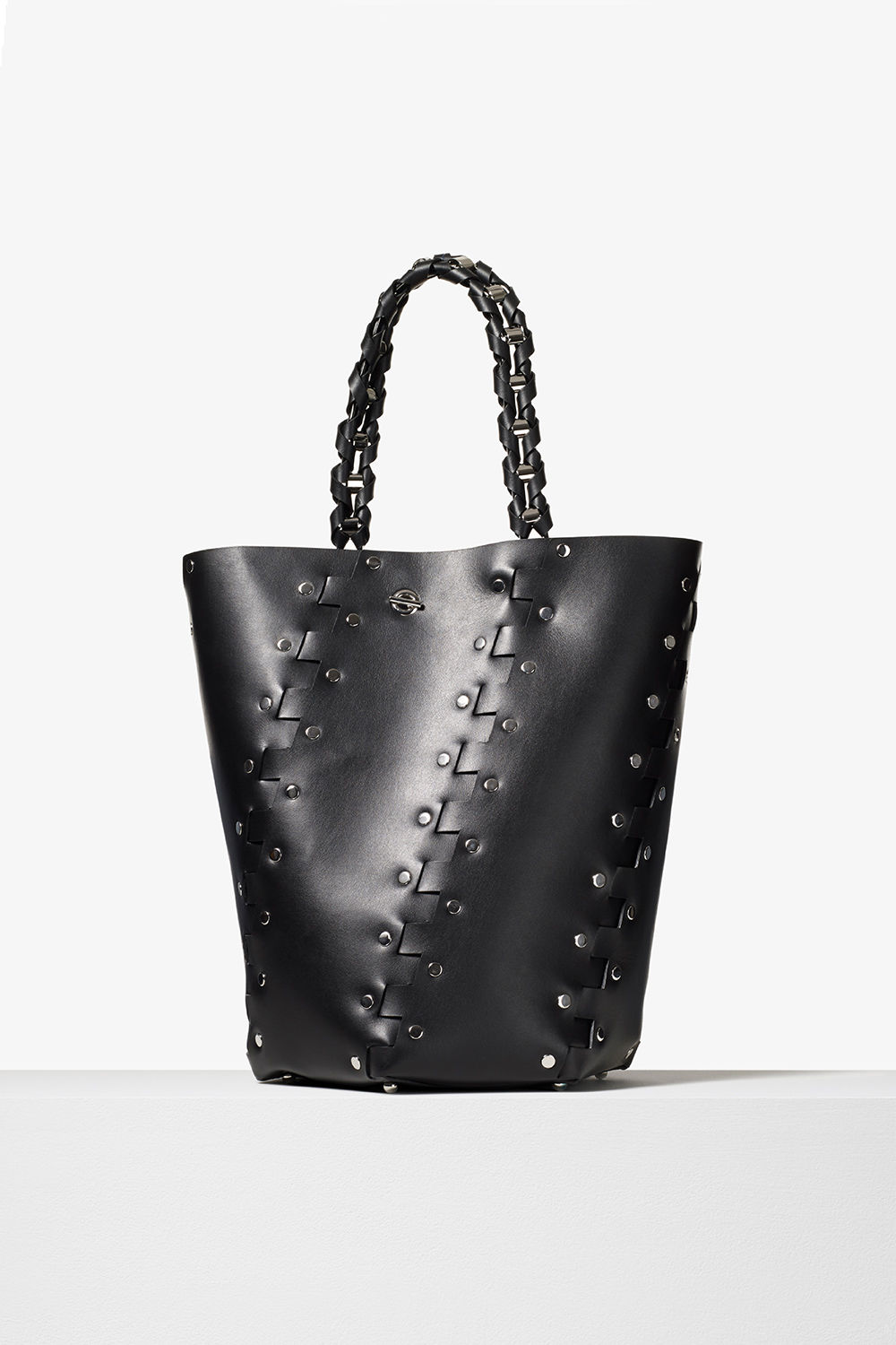 proenza schouler pre fall 2017 black studded hinged large hex bucket bag