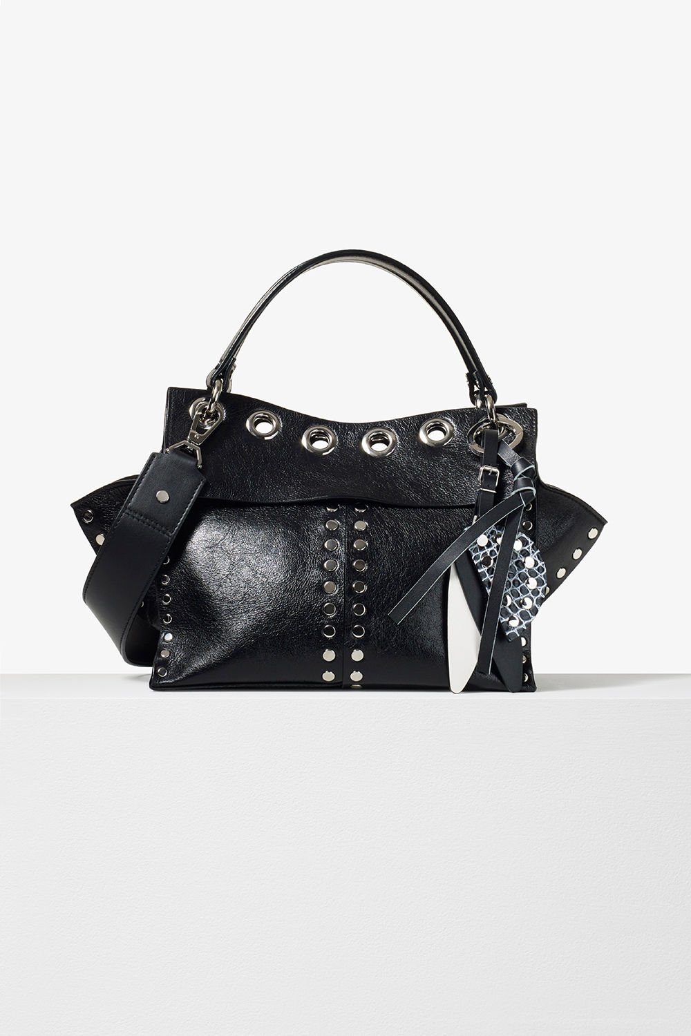 proenza schouler pre fall 2017 black studded leather curl handbag