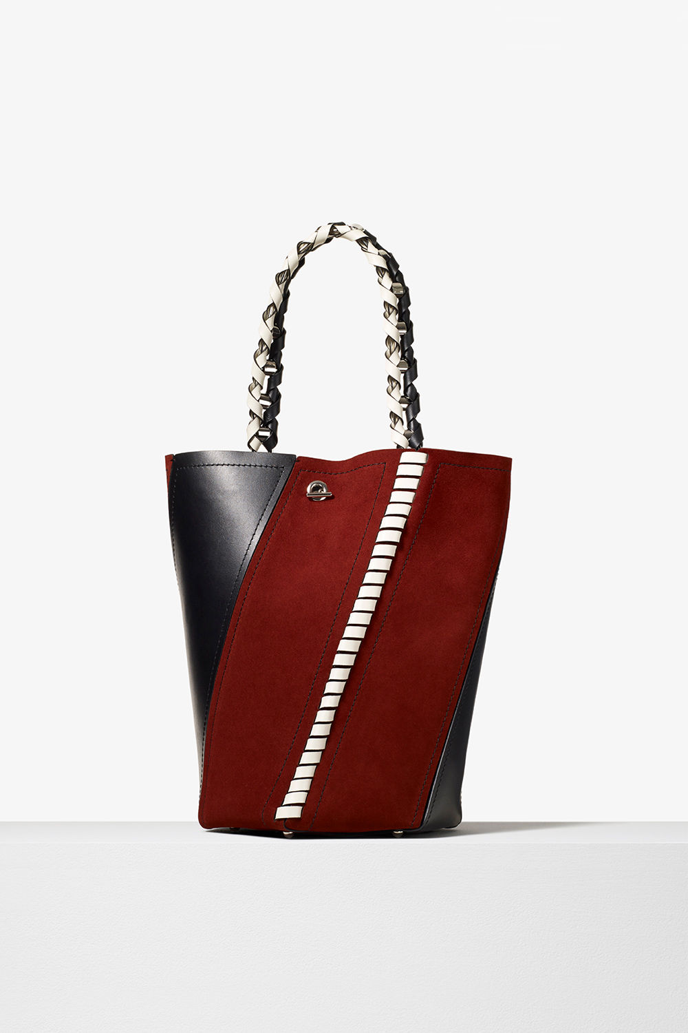proenza schouler pre fall 2017 red plum black clay smooth leather and suede medium hex bucket bag