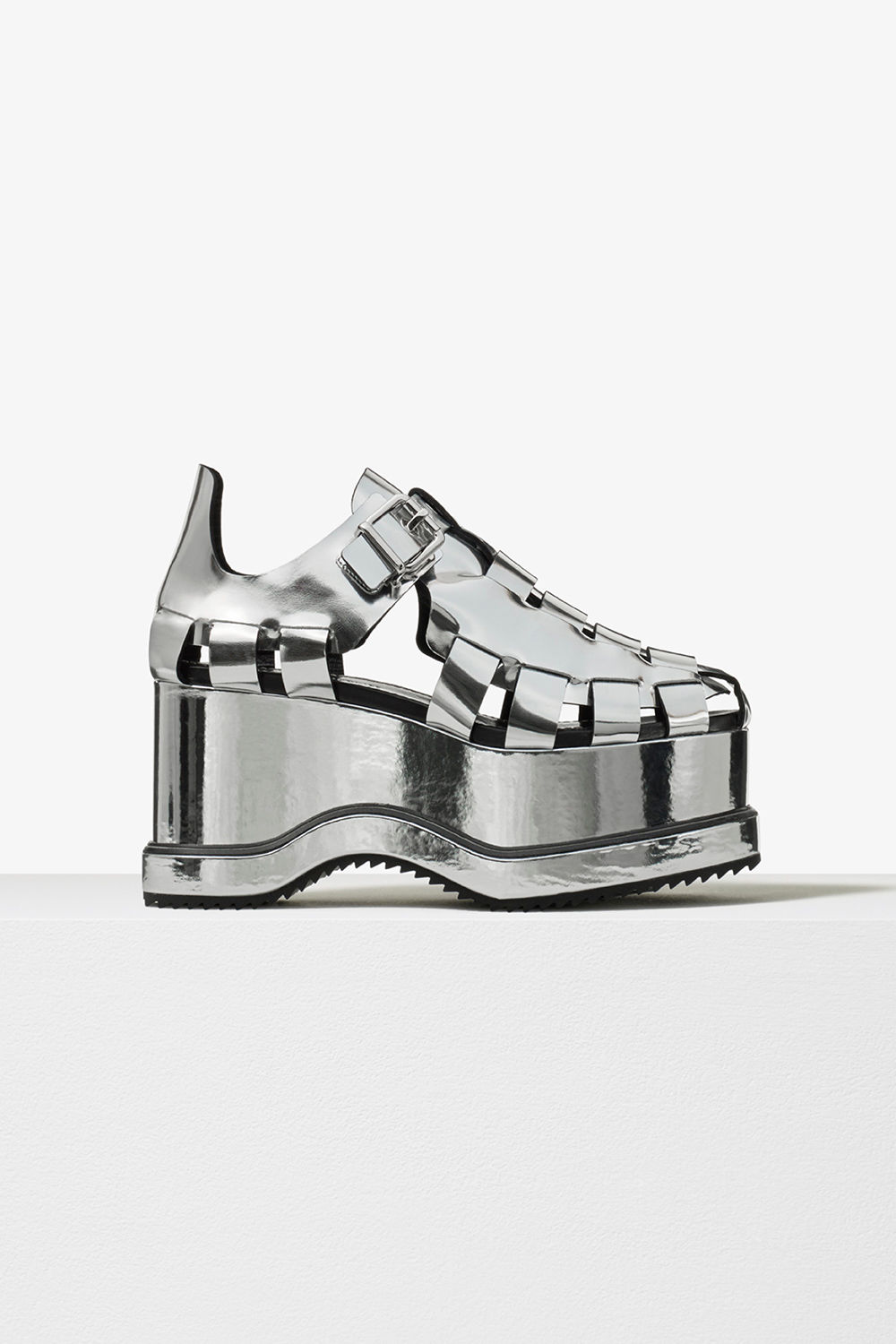 proenza schouler pre fall 2017 silver metallic calf leather woven close toe platform sandal