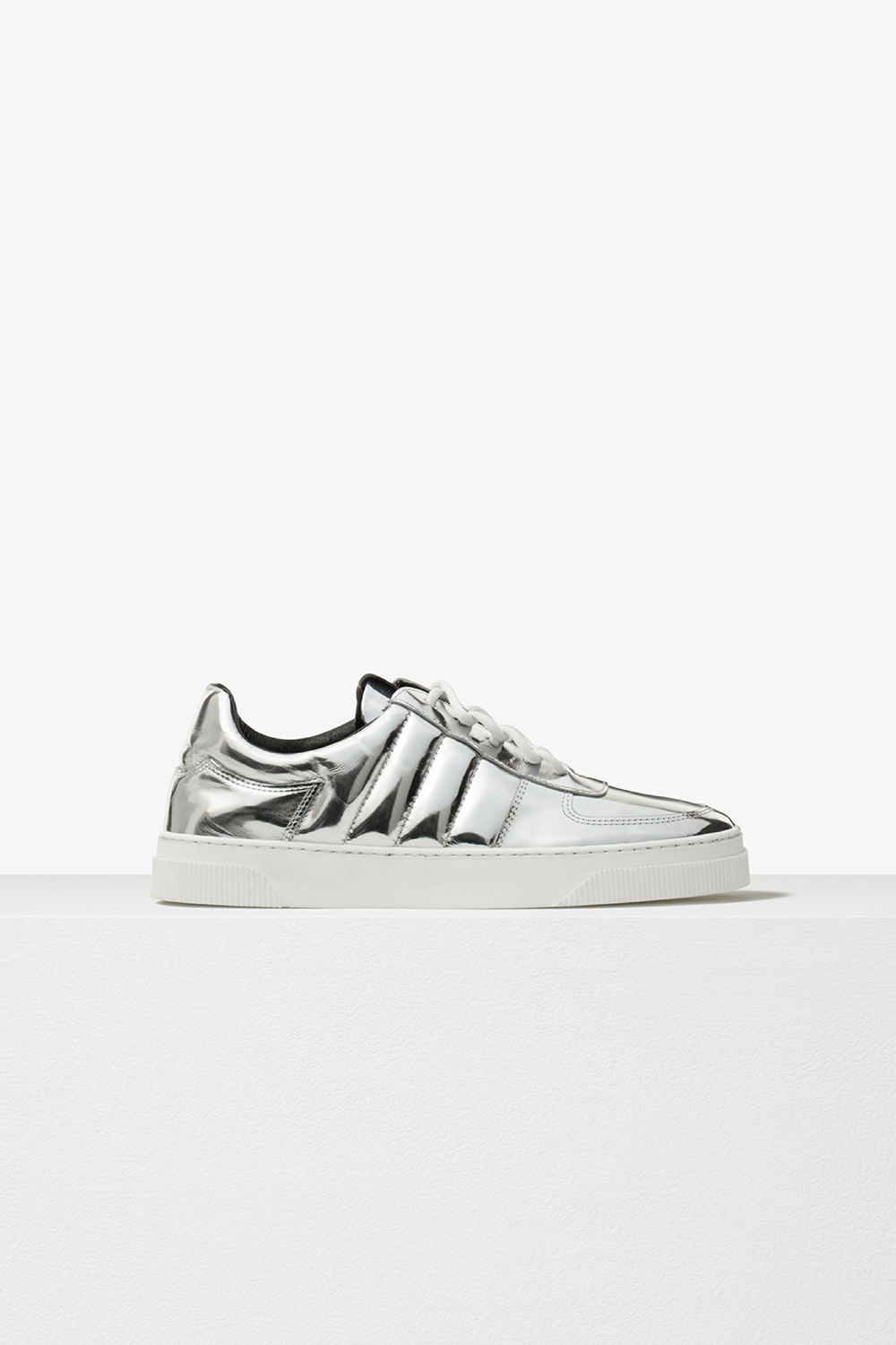 proenza schouler pre fall 2017 silver metallic leather lace up sneaker