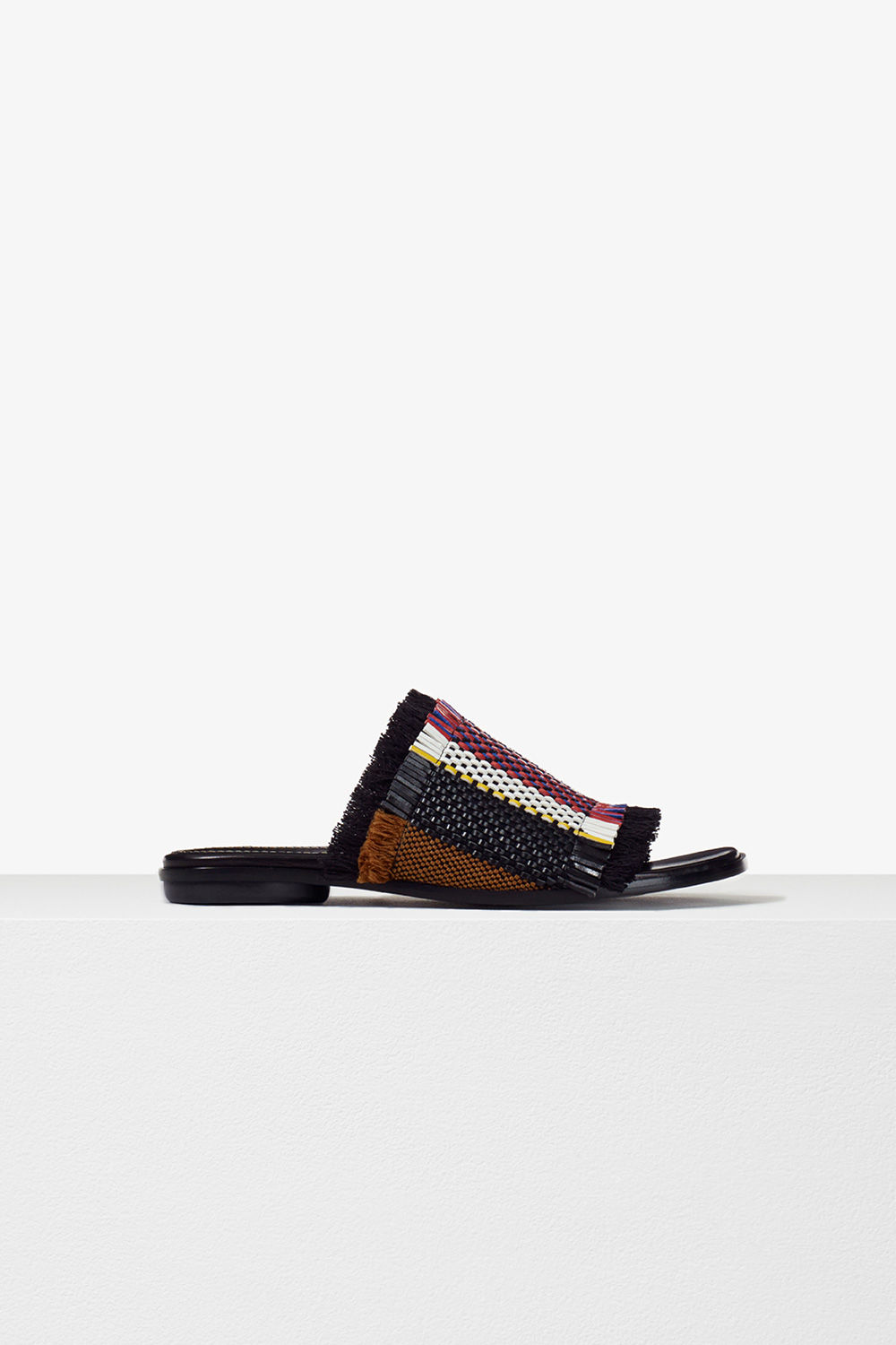 proenza schouler pre spring 2017 black mix woven stripe frayed slide