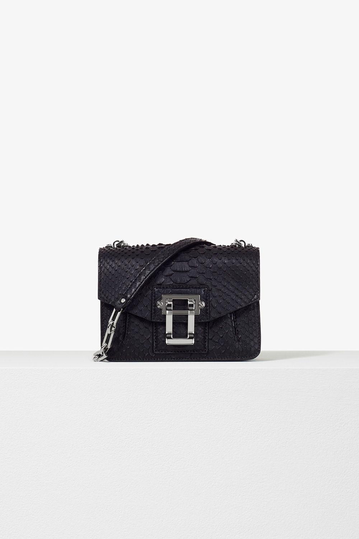 proenza schouler pre spring 2017 black soft matte python hava chain crossbody bag