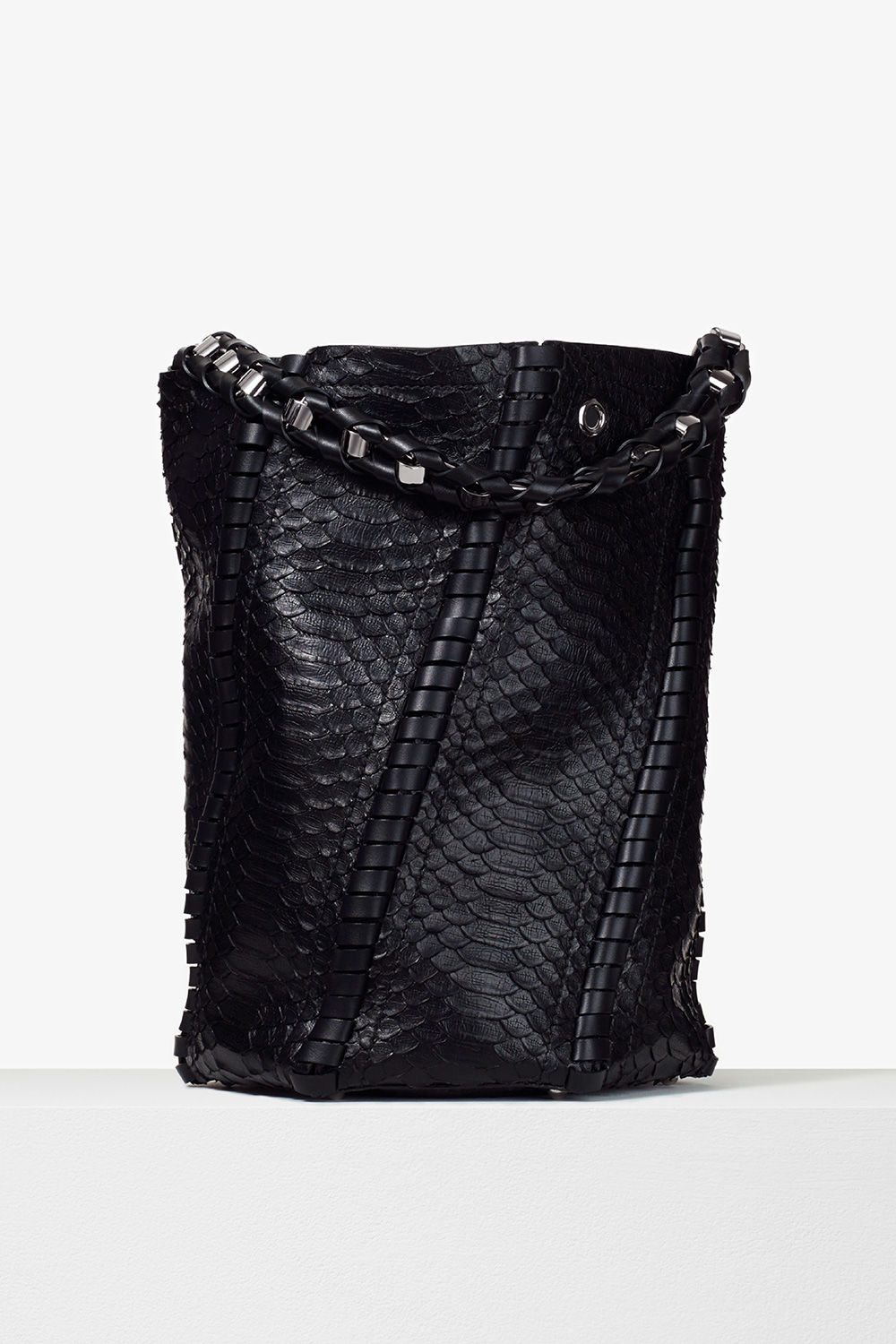 proenza schouler pre spring 2017 black soft matte python large hex whipstitch bucket bag