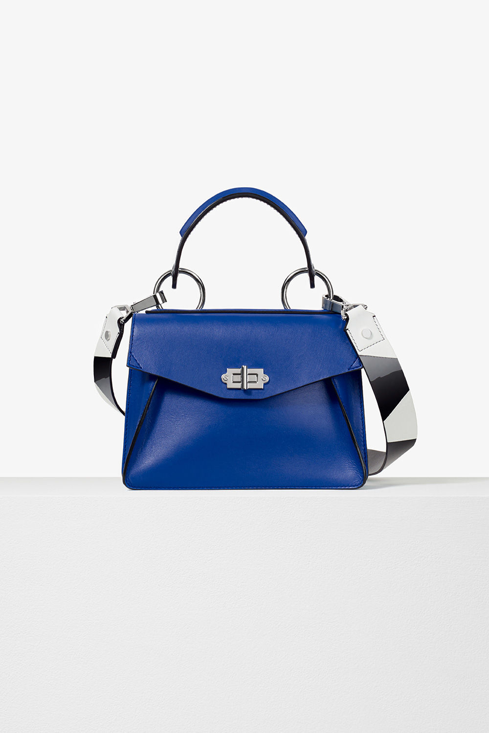 proenza schouler pre spring 2017 memphis blue black white smooth leather small hava top handle bag with patchwork strap