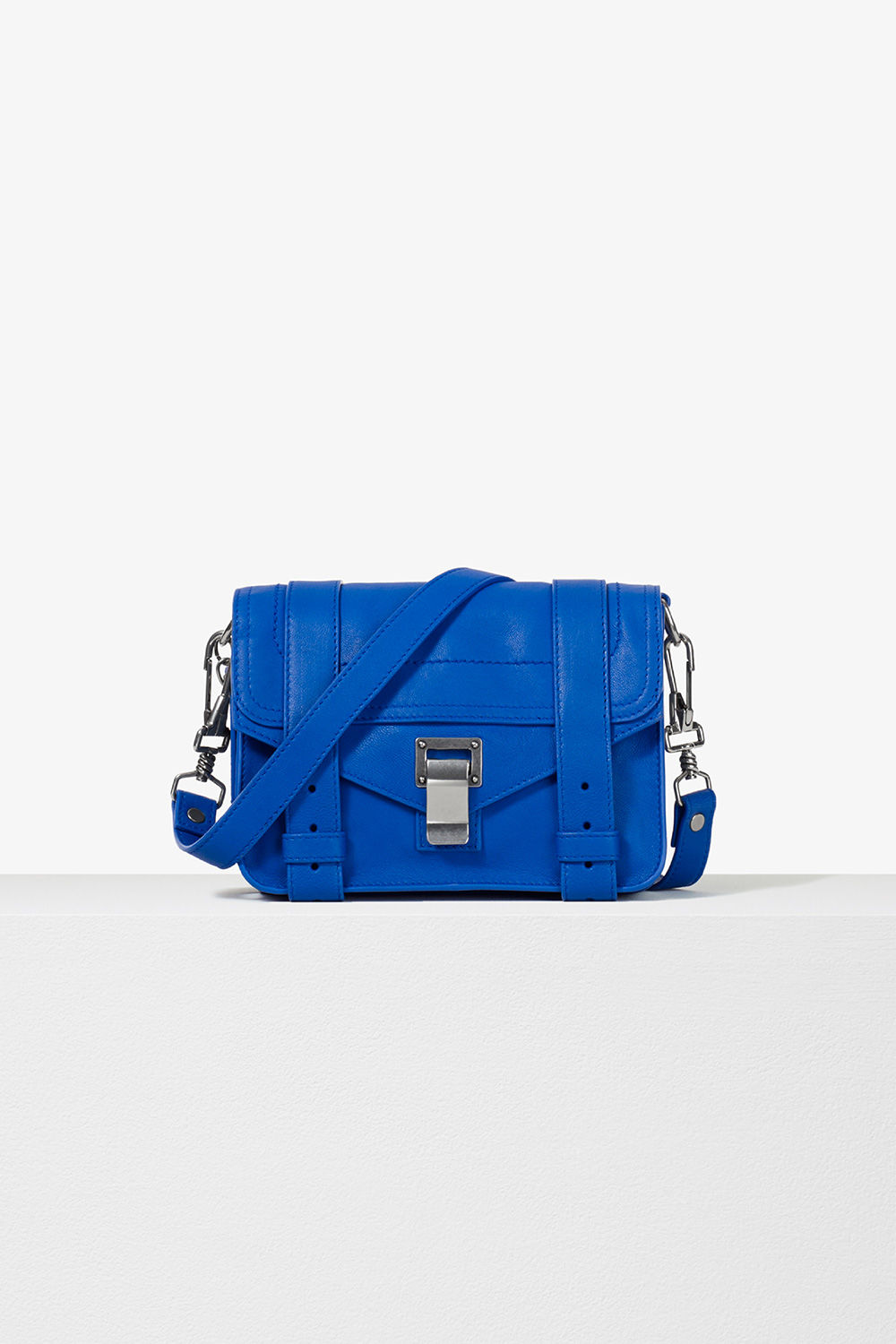 proenza schouler pre spring 2017 memphis blue lux leather ps1 mini crossbody bag