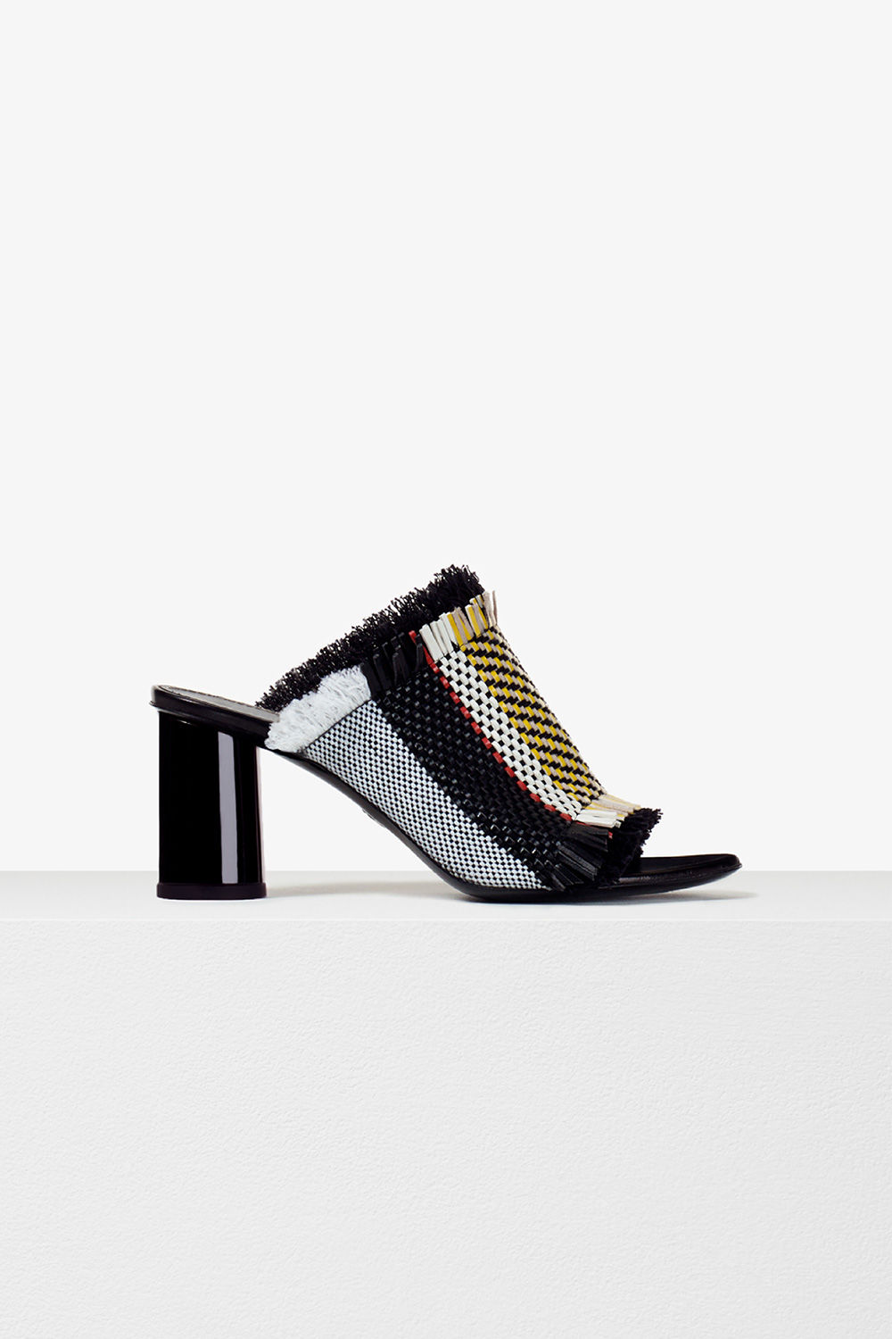 proenza schouler pre spring 2017 optic white mix woven stripe frayed mule