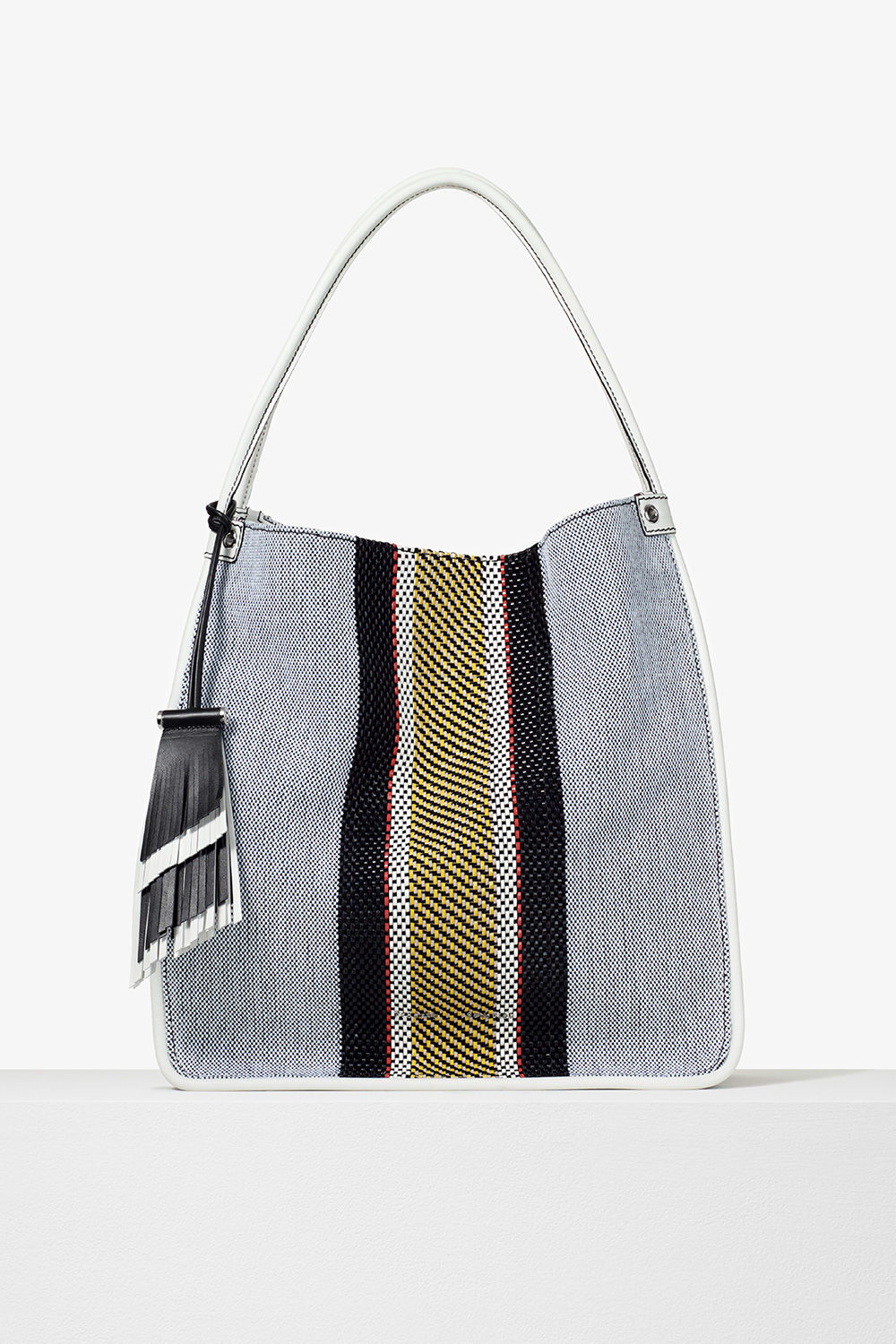 proenza schouler pre spring 2017 optic white mix woven stripe medium tote bag
