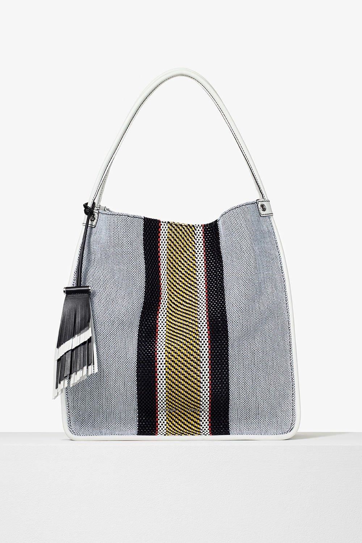 proenza schouler pre spring 2017 optic white mix woven stripe medium tote bag