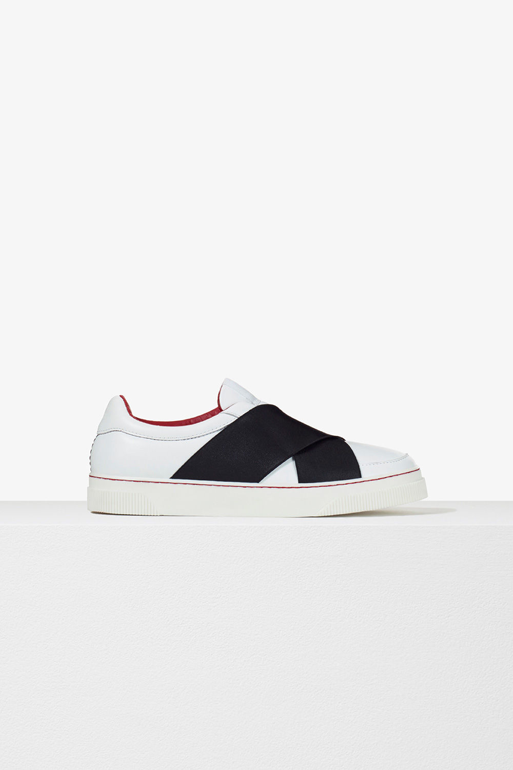 proenza schouler pre spring 2017 white black white leather and elastic slip on sneaker