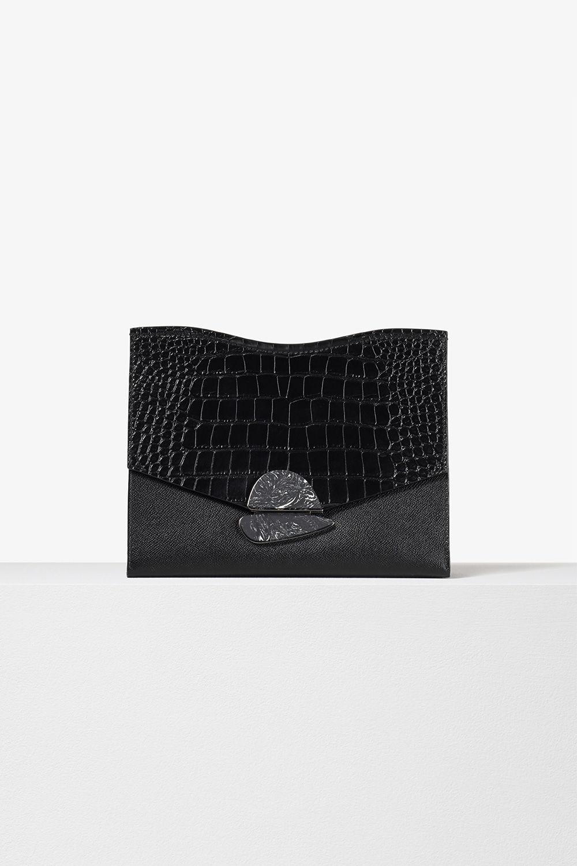 proenza schouler spring 2017 black minigrain/embossed croc medium curl clutch