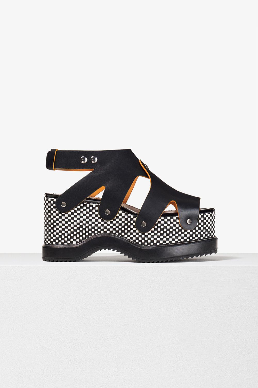 proenza schouler spring 2017 black white woven leather stud platform sandal