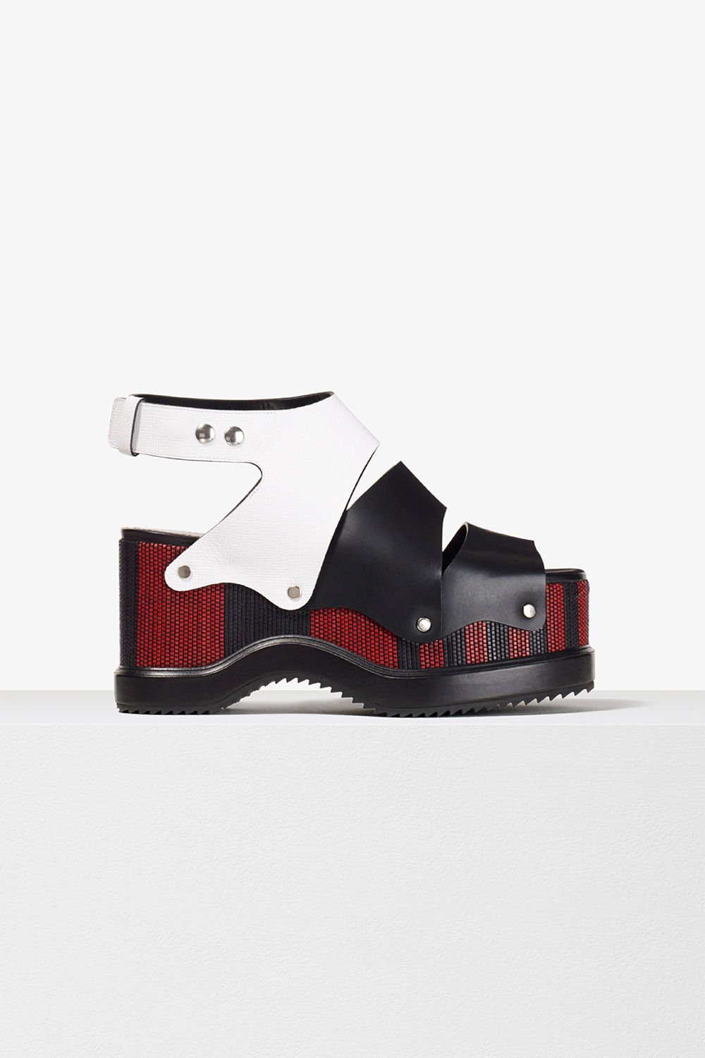 proenza schouler spring 2017 black white red woven leather stud platform sandal