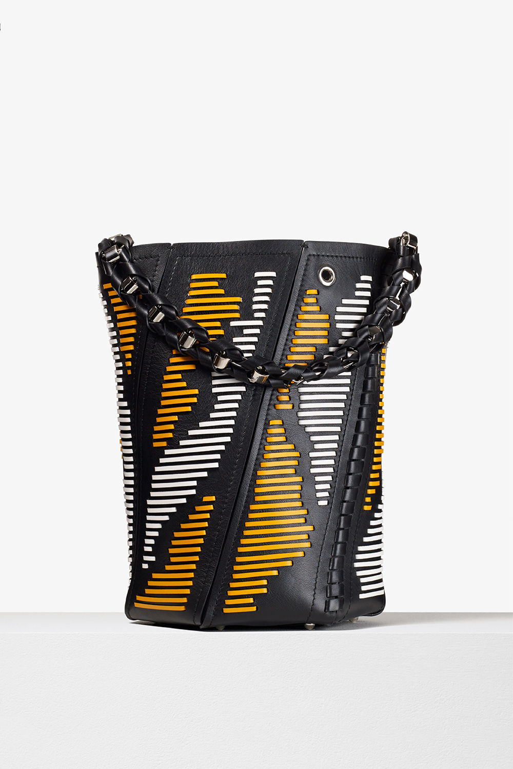 proenza schouler spring 2017 black white sunflower smooth leather laced medium hex bucket bag