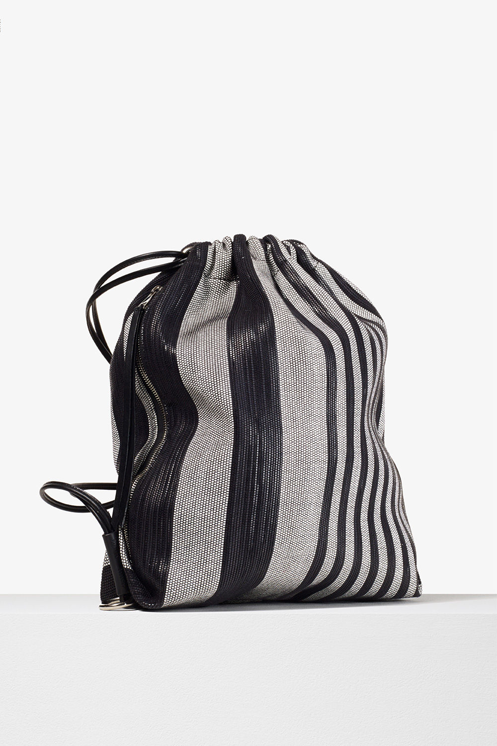 proenza schouler spring 2017 black white woven stripe drawstring backpack