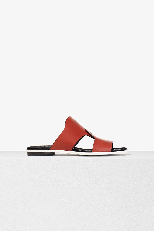 proenza schouler spring 2017brick calf leather stud flat slide sandal