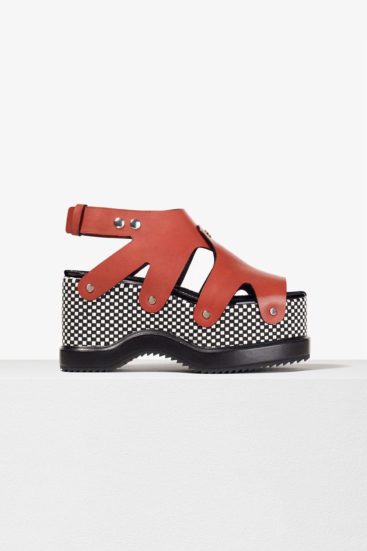 proenza schouler spring 2017 brick whiteblack woven leather stud platform sandal