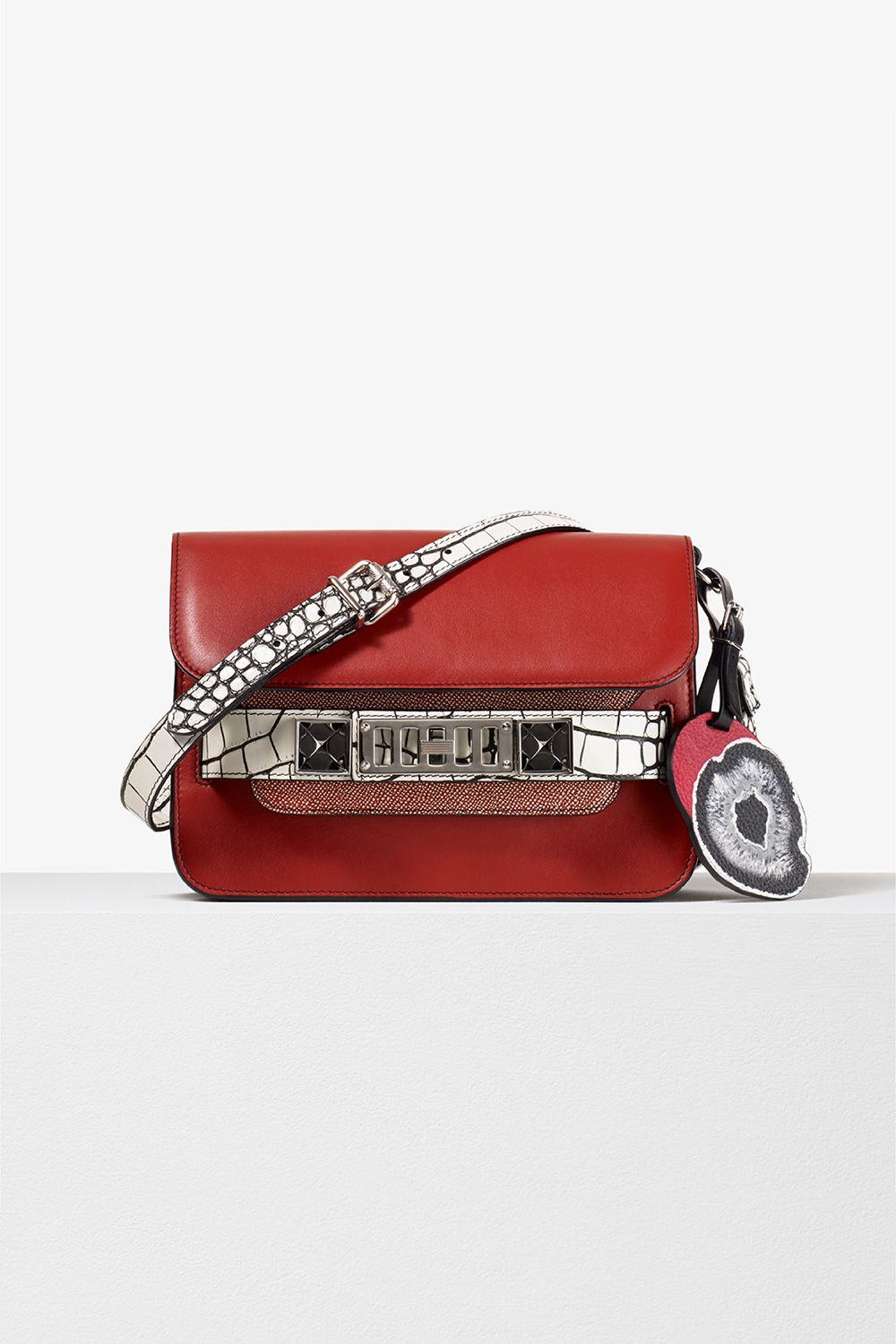proenza schouler spring 2017 brick white smooth leather minigrain embossed croc ps11 mini classic bag