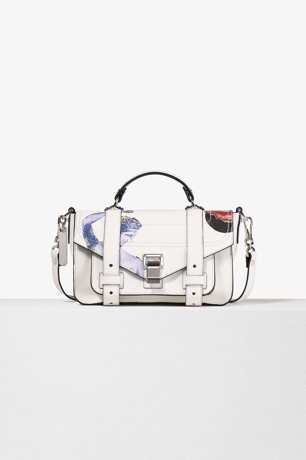 proenza schouler spring 2017 optic white printed leather ps1+ tiny bag
