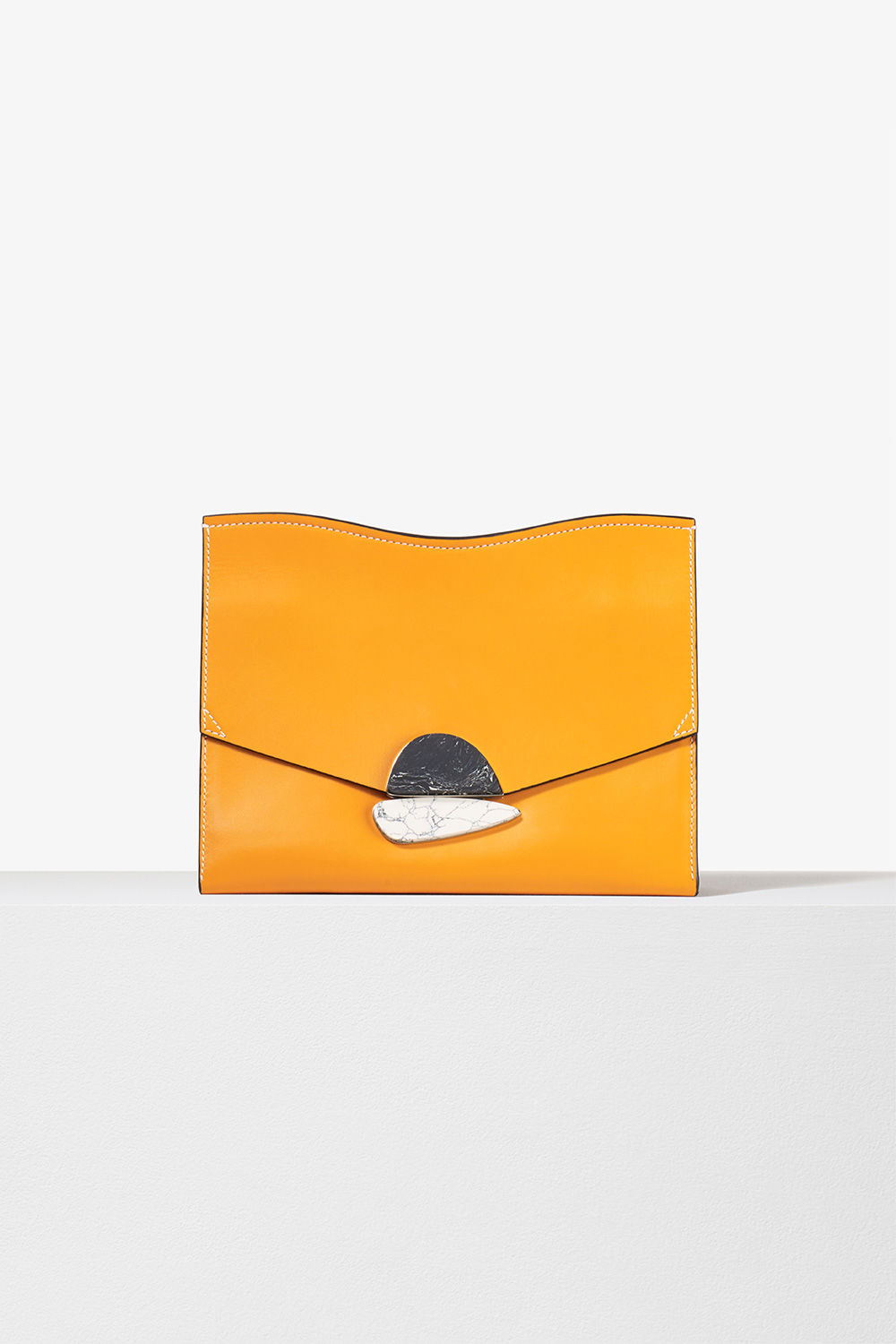 proenza schouler spring 2017 sunflower smooth leather medium curl clutch