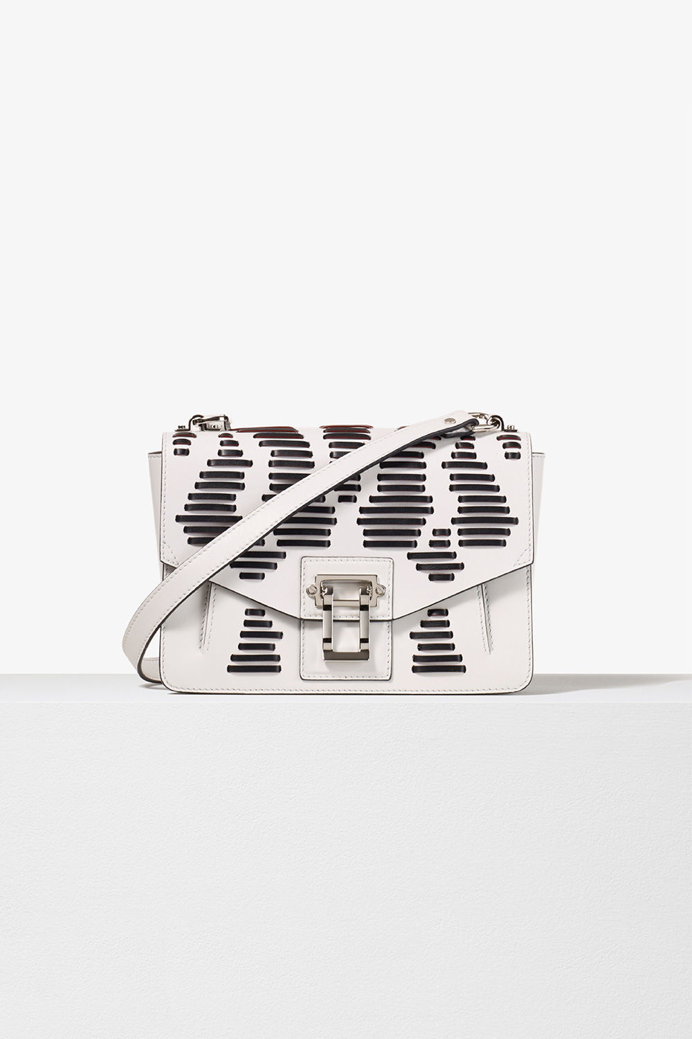proenza schouler spring 2017 white black leather laced hava shoulder bag