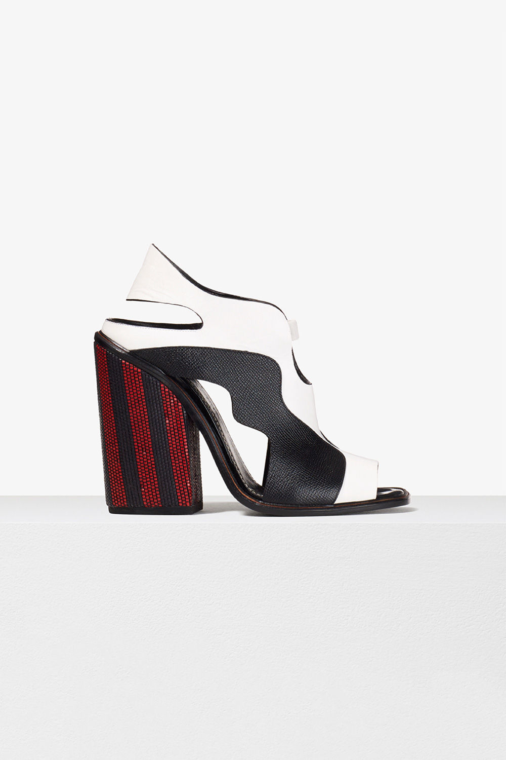 proenza schouler spring 2017 white black red woven stripe heeled sandal