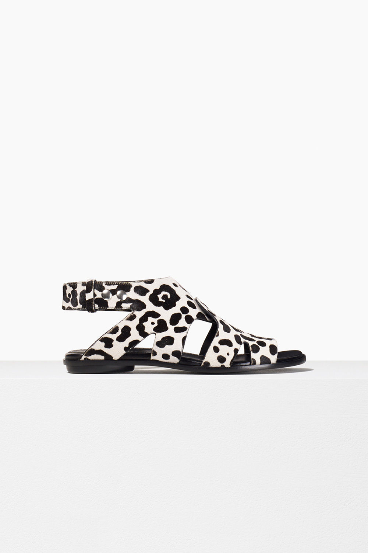 proenza schouler spring 2017 white leopard calf hair stud flat sandal