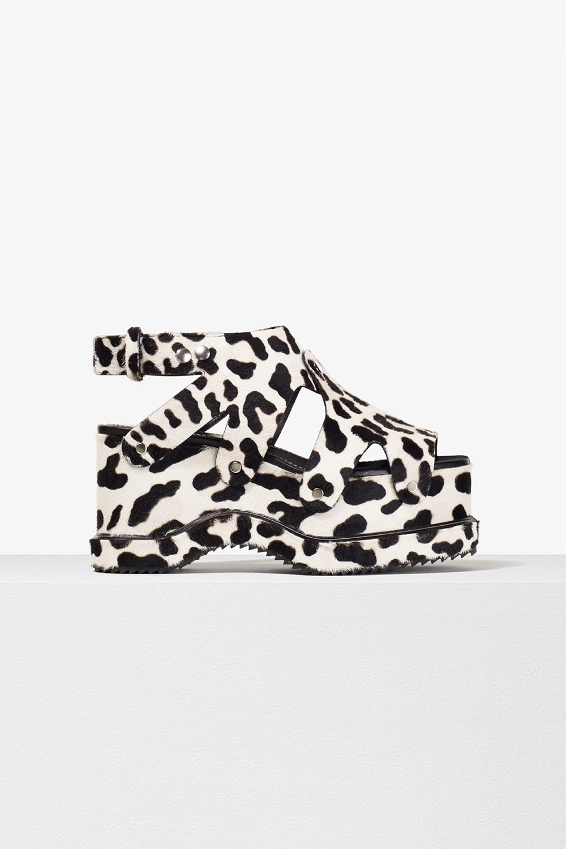 proenza schouler spring 2017 white leopard calf hair stud platform sandal