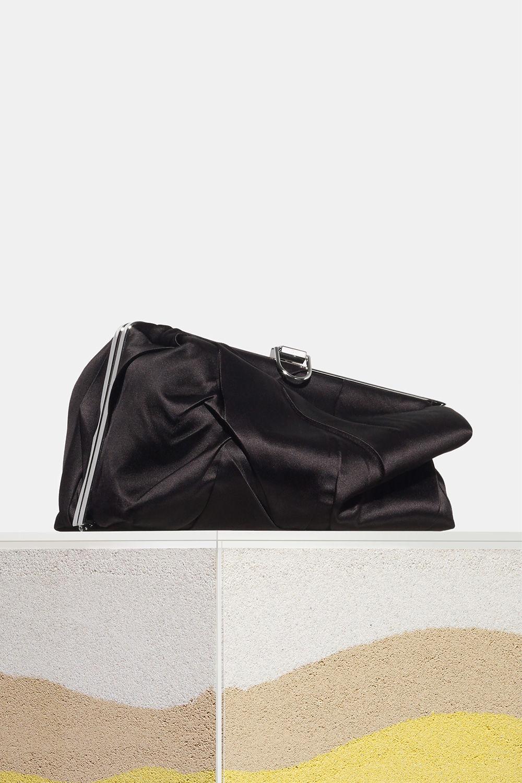 proenza schouler spring 2018 black crinkled satin asymmetric frame clutch