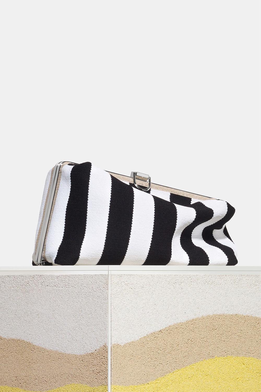 proenza schouler spring 2018 black/ecru knit stripe asymmetric frame clutch