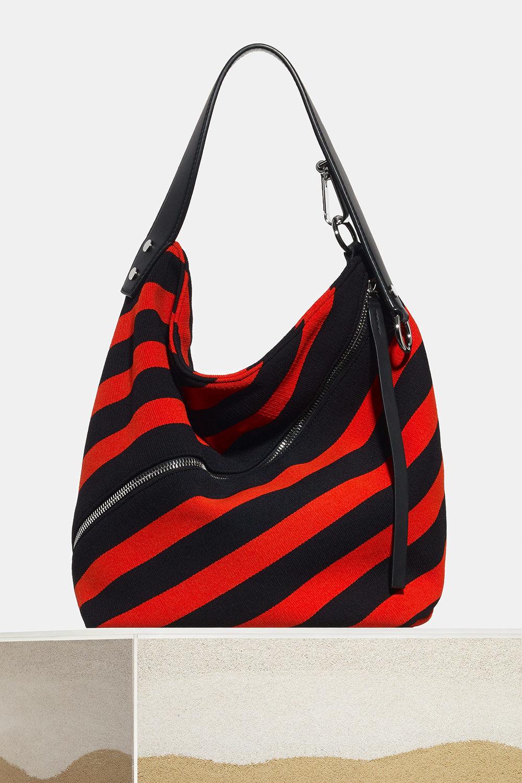 proenza schouler spring 2018 black hot coral knit stripe medium zip hobo