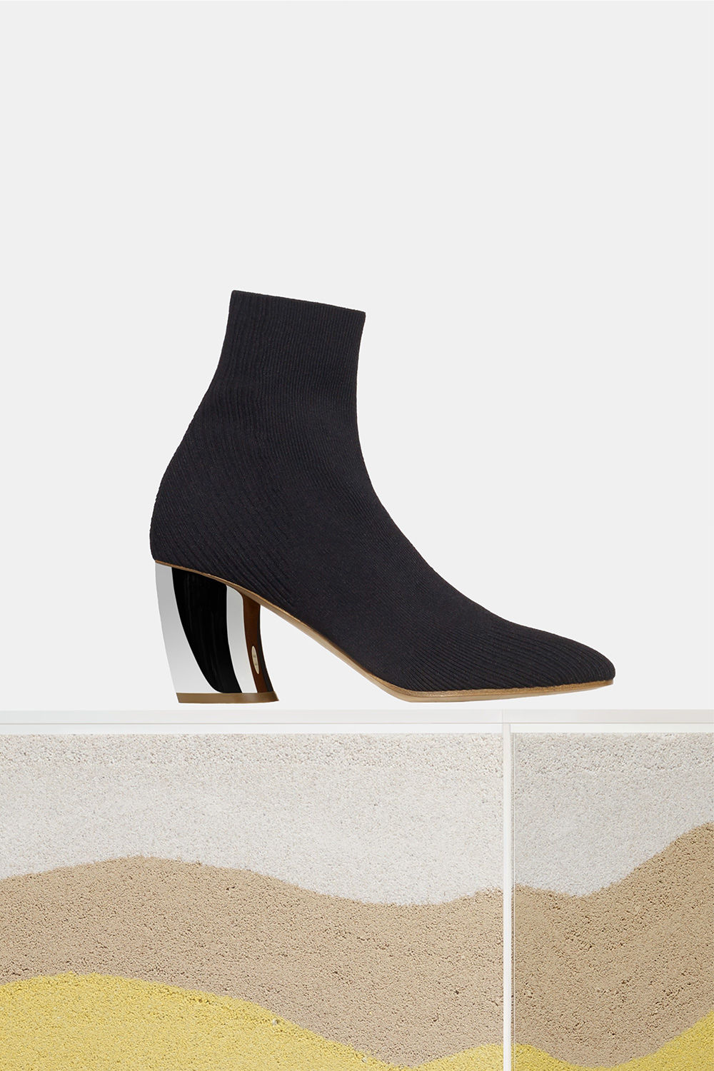 proenza schouler spring 2018 black knit metal heel ankle boot