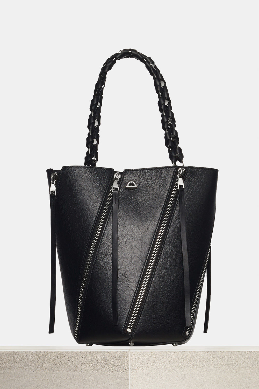proenza schouler spring 2018 black paper leather medium zip hex bucket bag