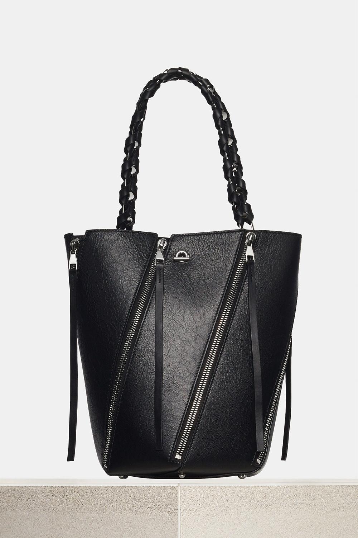 proenza schouler spring 2018 black paper leather medium zip hex bucket bag