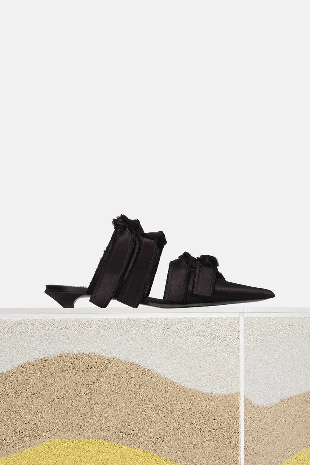 proenza schouler spring 2018 black satin knotted low heel slide